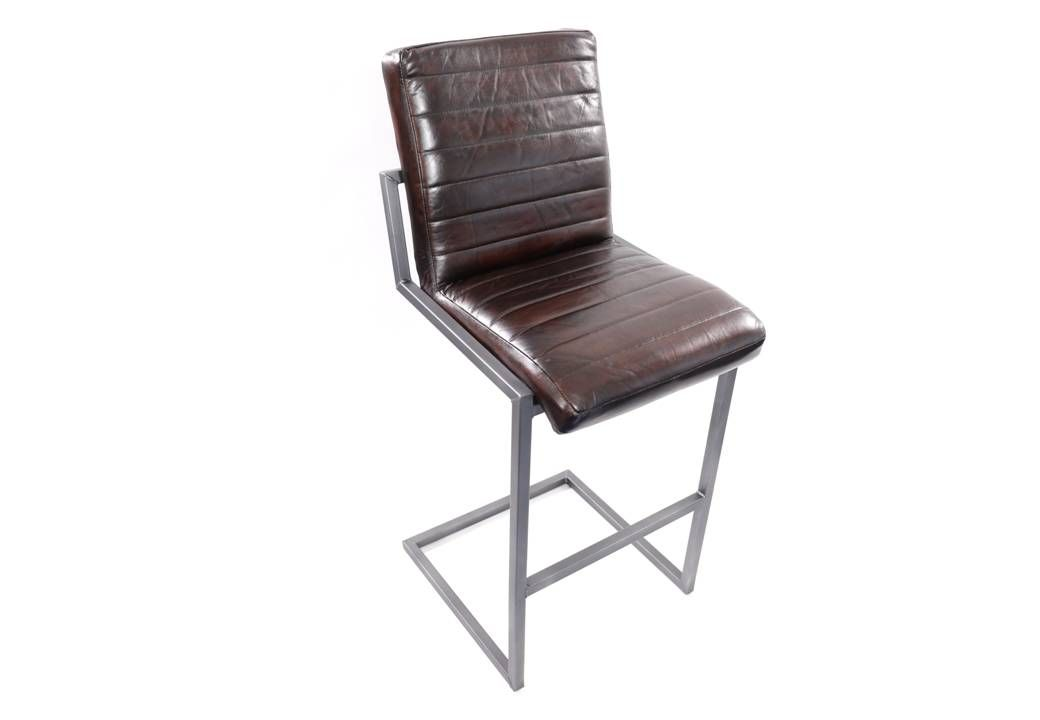 Genuine Leather Stool Real Buffalo Leather Bar Stool In Industrial Design