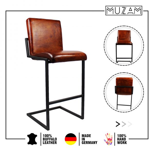 Retro Cantilever Leather Stool | Unique Design | Made in Germany